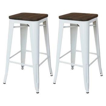 Seating - Threshold Hampden Counter Stool I Target - white wood topped counter stool, white industrial counter stool, backless metal counter stool, white metal counter stool,