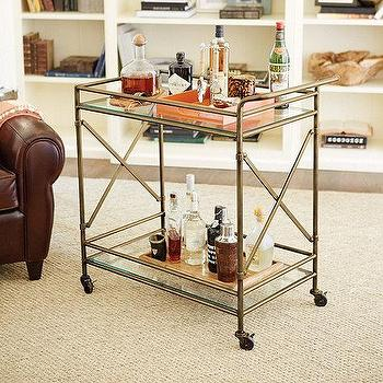Storage Furniture - Olivia Bar Cart | Ballard Designs - brass bar cart, brass and glass bar cart, brass serving cart,