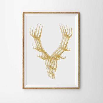 Art/Wall Decor - White Gold Deer Skull Antlers Art Print Minimalist by alphonnsine I Etsy - deer antlers wall art, gold deer skull wall art, gold deer skull art print,