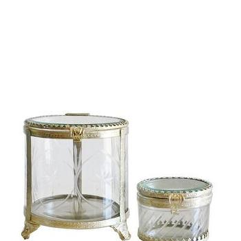 Decor/Accessories - Silver & Etched Glass Lidded Boxes I High Street Market - silver etched glass box, etched glass box, decorative etched glass box,