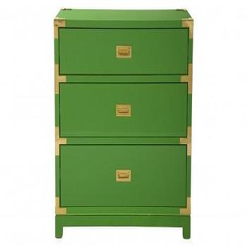 Storage Furniture - Palms Three Drawer Table - Green | Jayson Home - green campaign side table, green three drawer campaign nightstand, green campaign nightstand,