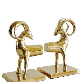 Decor/Accessories - Pair of Brass Gazelle Bookends I High Street Market - brass gazelle bookends, hollywood regency bookends, solid brass gazelle bookends,