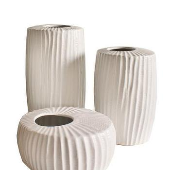 Decor/Accessories - White Ceramic Ridge Vases I High Street Market - ridged white vase, modern white vase, textured white vase,
