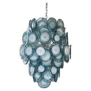 Lighting - Caterina Chandelier | Jayson Home - blue glass chandelier, blue glass disc chandelier, retro blue glass chandelier,