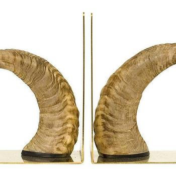 Decor/Accessories - Hank Bookends | Jayson Home - horn bookends, horn and brass bookends, natural horn bookends,