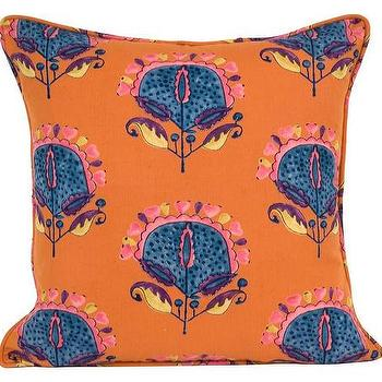 Pillows - Frances Pillow | Jayson Home - blue and orange pillow, vintage blue and orange pillow, blue and orange floral pillow,