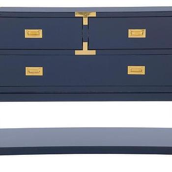 Tables - Palms Console - Blue | Jayson Home - blue campaign console table, lacquered blue campaign console, campaign style blue console table,
