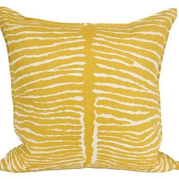 Pillows - Zebra Linen Pillow - Yellow  | Jayson Home - golden yellow zebra pillow, yellow zebra pillow, yellow zebra print pillow,