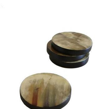 Decor/Accessories - Horn Coasters, Set of 4 I High Street Market - horn coasters, round horn coasters, natural horn coasters,