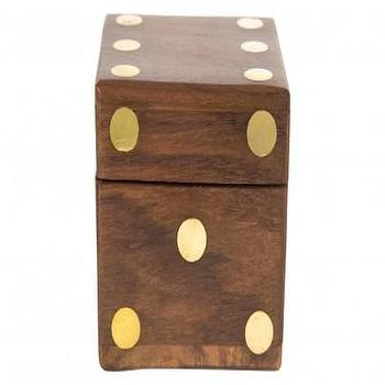 Decor/Accessories - Mosely Box | Jayson Home - dice shaped box, wooden dice box, wood and brass dice box,