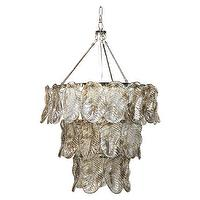 Lighting - Sandro Chandelier | Jayson Home - silver leaf chandelier, glass leaf chandelier, silvered glass leaf chandelier,