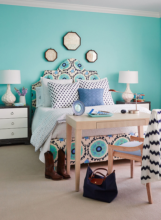 Turquoise Wall Paint Transitional Bedroom Benjamin