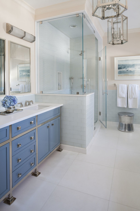 Blue washstand contemporary bathroom sb long interiors for Blue and silver bathroom ideas