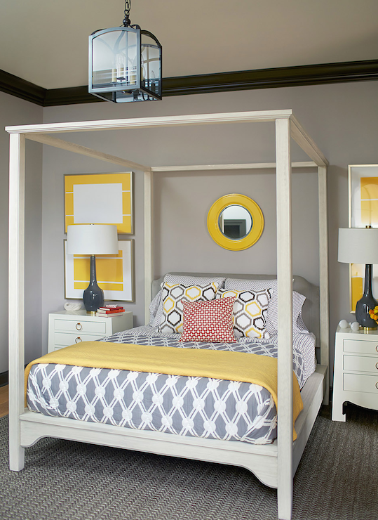 Gray And Yellow Bedroom Contemporary Bedroom Andrew
