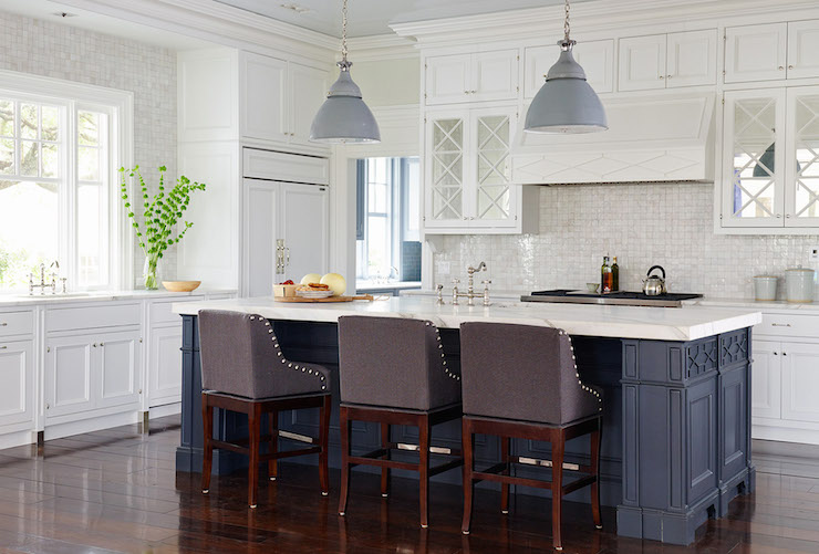 Navy Kitchen Island Transitional Kitchen Benjamin