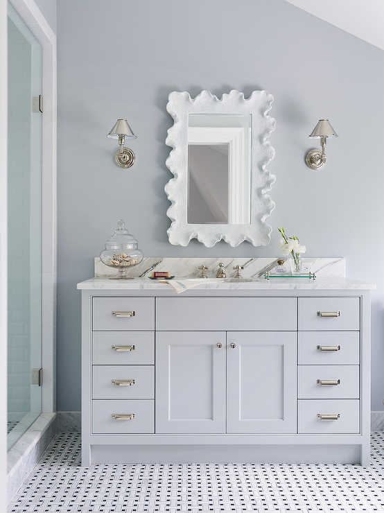 Scalloped Mirror Transitional Bathroom Andrew Howard