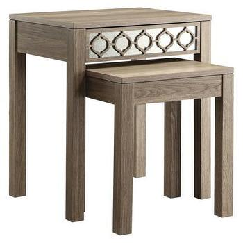 Tables - Helena Nesting Tables (Greco Oak Finish) I Target - oak nesting tables, nesting tables with mirrored trim, nesting tables with mirrored detail,