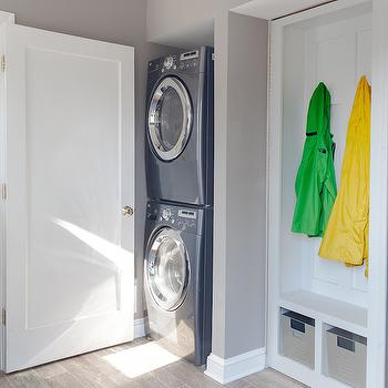 Cory Connor Design - laundry/mud rooms - stacked washer dryer, stacked washer and dryer, blue washer dryer, nook washer dryer, nook washer and dryer, washer dryer in nook, washer and dryer in nook, mudroom bench, laundry room mudroom, mudroom laundry room, mudroom bench,