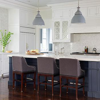 Navy Kitchen Island, Transitional, Kitchen, Benjamin Moore White Diamond, Andrew Howard Interior Design