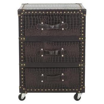 Storage Furniture - Safavieh Mya Chest - Brown I Target - faux croc chest, faux croc steamer chest, steamer trunk side table, steamer trunk chest, faux croc chest of drawers,
