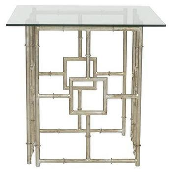 Tables - Safavieh Dermot Accent Table - Silver/Clear I Target - silver leafed accent table, silver faux bamboo side table, silver chinoiserie side table, glass topped chinoiserie accent table,