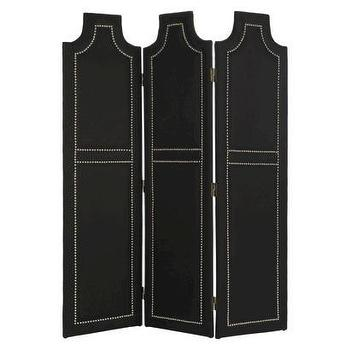 Decor/Accessories - Safavieh Venice Screen I Target - black upholstered screen, black screen with nailhead trim, upholstered screen with nailhead trim, black room divider with nailhead trim,
