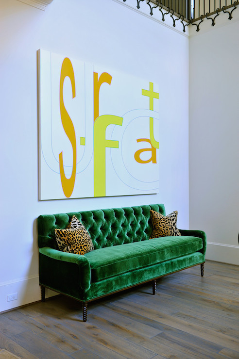 Emerald Green Sofa Contemporary Entrance Foyer