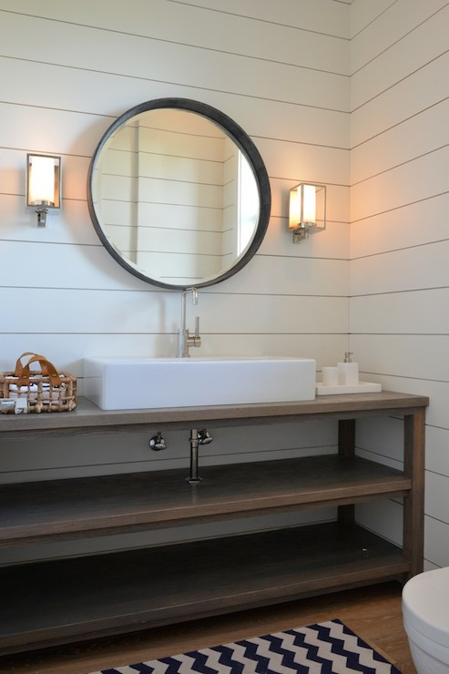 Paneled Powder Room Cottage Bathroom Munger Interiors