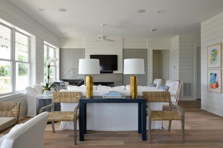 Gold Rivet Lamp Cottage Living Room Munger Interiors