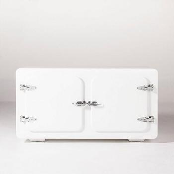 Storage Furniture - LE CABANE GLOSS WHITE CABINET I HD Buttercup - vintage refrigerator style cabinet, white retro fridge style cabinet, vintage fridge shaped cabinet,