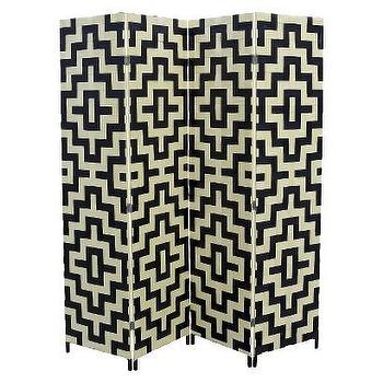 Decor/Accessories - 4 Panel Paper Straw Weave Screen I Target - black and white room divider, geometric room divider, black and white room screen, geometric room screen, woven geometric room screen, geometric folding screen,