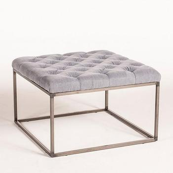 Tables - Tufted Coffee Table-Medium Washed Blue I HD Buttercup - linen tufted coffee table, tufted coffee table ottoman, tufted ottoman with steel base, blue tufted linen coffee table,
