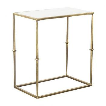 Tables - GLAM MARBLE TOP SIDE TABLE I HD Buttercup - gold side table with marble top, marble topped gold side table, gold white marble topped side table, gilt side table with marble top,