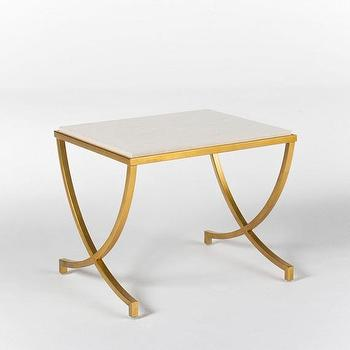 Tables - HAVILAND TRAVERTINE SIDE TABLE I HD Buttercup - gold travertine topped side table, travertine side table with gold base, french deco style side table,