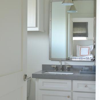 Munger Interiors - bathrooms - white medicine cabinet, over the toilet cabinet, above the toilet cabinet, over the toilet medicine cabinet, above the toilet medicine cabinet, rivet mirrors, rivets mirror, nickel rivets mirror, white cabinets, white vanity cabinets, grey countertops,
