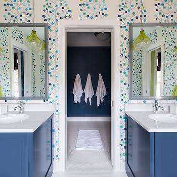 Refined LLC - bathrooms - kids bathroom, kids bathroom ideas, shared kids bathroom, boys bathroom, boys bathroom ideas, modern tree wallpaper, gray mirror, blue washstands, blue vanity, bath sink vanity, blue vanity sink, white quartz countertops, green glass pendants, green glass light pendants, hanging light pendants, suspended light pendants, shower room, bathroom wallpaper,
