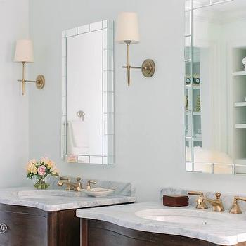 Bella Mancini Design - bathrooms - antique vanity, antique sink vanity, antique washstands, his and her washstands, white marble top, his and her mirrors, vanity mirrors, tiled mirrors, brass sconces, brass bryant sconce, elegant bathrooms, sophisticated bathrooms,