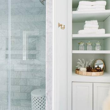 Bathroom Shelves, Transitional, bathroom, Natalie Clayman Interior Design
