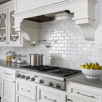 Beveled Marble Subway Tiles, Transitional, kitchen, Casa Verde Design
