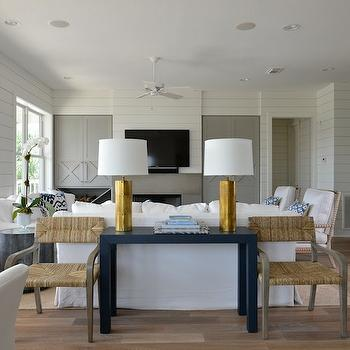 Gold Rivet Lamp, Cottage, living room, Munger Interiors
