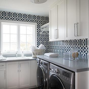 Laundry Room Wallpaper, Contemporary, laundry room, Refined LLC