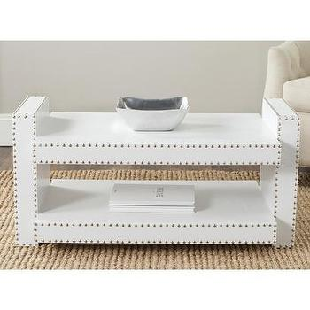 Tables - Safavieh Garson Accent Table I Target - white nailhead side table, white nailhead accent table, nailhead trimmed accent table,