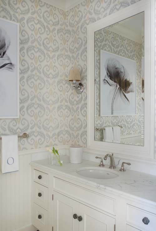 Half Wallpapered Walls Transitional Bathroom Sb Long