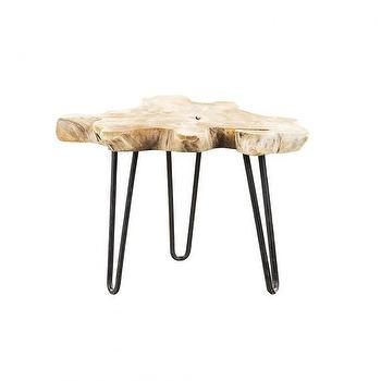 Tables - SATELLITE SIDE TABLE I HD Buttercup - wood slab side table, rustic wood side table, hairpin legged wood side table,