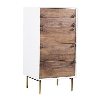 Storage Furniture - INDIRA 5 CABINET 5 DRAWER I HD Buttercup - lacquered 5 drawer cabinet, white wood front tall boy, white tall boy with walnut drawer fronts, modern tall boy,