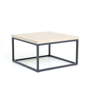 Tables - Slab Box Frame Coffee Table - Square | West Elm - modern concrete coffee table, square concrete topped coffee table, iron based concrete coffee table,