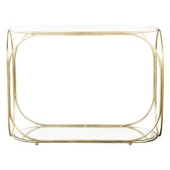 Tables - ORBITS CONSOLE I HD Buttercup - gold marble topped console, gold white marble console table, gold console with mirrored shelf,