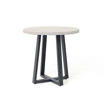 Tables - Slab Side Table I West Elm - lava stone side table, iron based round side table, round lava stone side table,
