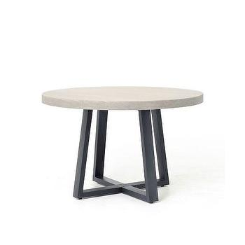 Tables - Slab Round Dining Table | West Elm - round stone topped dining table, stone topped dining table, lava stone dining table, stone topped iron dining table,