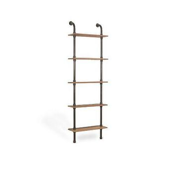 Storage Furniture - Reclaimed Pine Wall Unit Narrow | West Elm - iron pipe bookcase, iron pipe and wood shelves, industrial shelves, iron piping shelves,